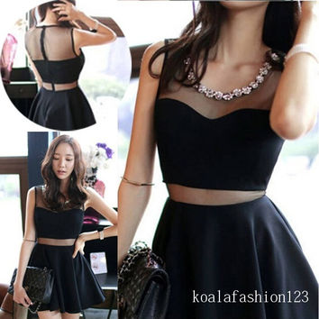 Hot Sale Korean Style Women Blends and Net Round Neck Square Mini Length Sexy Slim Dress = 1931664900