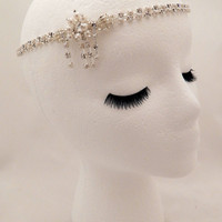 The Sybil - Crystal pearl hair piece, vintage style pearl crystal hair, Gatsby hair wrap, pearl 1920s wedding hair, art deco chain headpiece