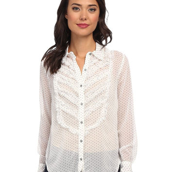 Free People Sheer Dot Print Tuxedo Blouse in Glacier Combo, Size S