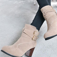 Suede Leather Ankle Boots with Buckle Belt