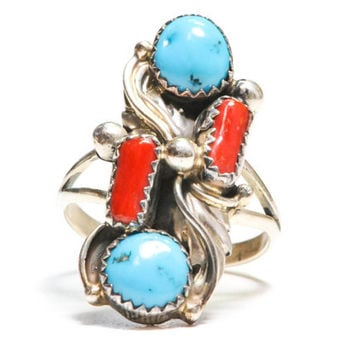 Unique Natural Turquoise and Coral Sterling Ring by BellmansOnlineStore
