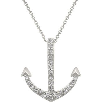 10K Gold Anchor Pendant with Diamond Accent