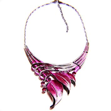 Victorian Leaf Crystal Enamel Necklace