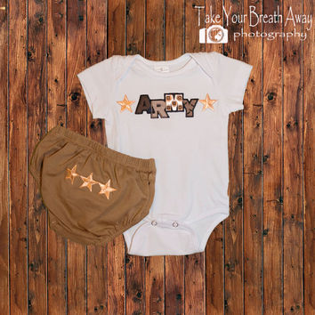 Baby Boy Onesuit/Army , Baby Boy Shower Gift, Boy Military Shirt,Infant Boy Soldier Outfit, Boy Diaper Short, Boys Clothing, Boys Army Onesuit