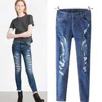 Women's Fashion Rinsed Denim Ripped Holes Jeans Pants Skinny Pants [4919013188]