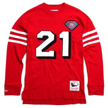 Deion Sanders San Francisco 49ers Name & Number Longsleeve Jersey Red