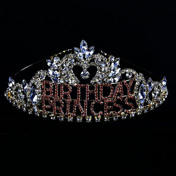 Birthday Princess Crystal Rhinestone Pink Words Gold Tiara