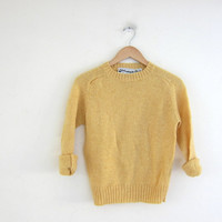 60s yellow small fit wool knit sweater. crewneck pullover sweater