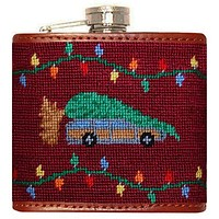 Christmas Vacation Needlepoint Flask in Maroon by Smathers & Branson