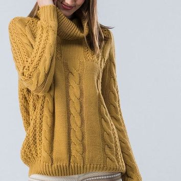 Cable Knit Cowl Neck Sweater - Mustard - Ships Friday