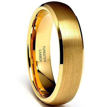 6mm Yellow Gold Tone Beveled Tungsten Carbide Wedding Band