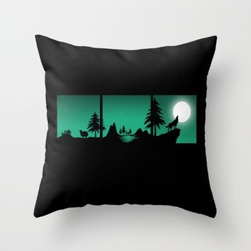 The sheep and the wolf in the woods Throw Pillow by Xiari