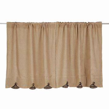 Burlap with Black Check Tier Curtains 36""