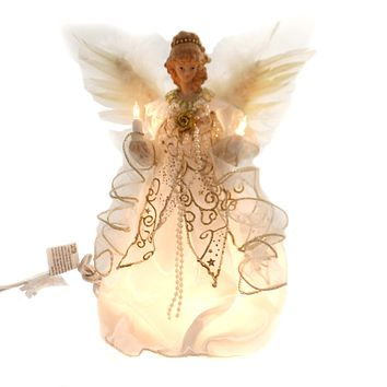 Christmas ANGEL IN IVORY/GOLD TREE TOPPER Fabric Electric Free-Standing Ul2146
