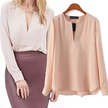 Long Sleeve V-Neck Chiffon Blouse