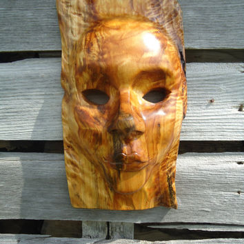 Birch wood mask - Wooden mask - Hand carved mask - Wood sculpture - Wall decor - Wood mask - Female face - Gifts for her - Abstract art