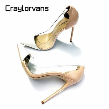 Craylorvans Women Pumps 2017 Transparent 12.5cm High Heels Sexy Pointed Toe Slip-on Cl