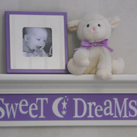 "Sweet Dreams - Sign on 24"" LInen White Shelf - Saying in Lilac - Moon and Star Nursery Wall Art"