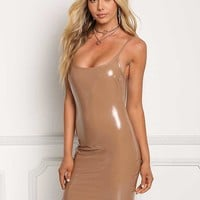 Latte Sleek Latex Bodycon Dress