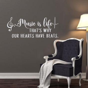 Music Is Life Wall Decal Quote, Music Notes Wall Decal Murals Vinyl Lettering Treble Clef Recording Studio Decor Music Lover Gifts Q303