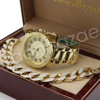 Hip Hop 14K Gold PT Luxury Big Face Watch Sandblast Bracelet Set F27G