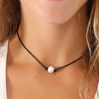 Vintage Retro Leather & Pearl Necklace Choker + Free Gift Random Choker = 2pcs Necklace