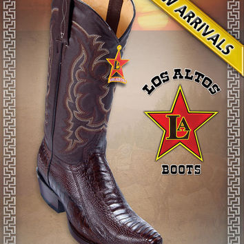Snip Toe Ostrich Leg Brown Western Cowboy Boots by Los Altos Boots