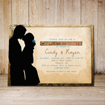 Wedding invitation Printable Couple shower invite Personalized customized digital invitation card groom bridal blue red brown engagement