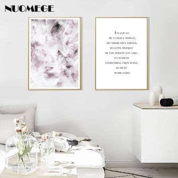 NUOMEGE Nordic Minimalist Motivation Quotes Wall Art Painting Feather Canvas Poster Print Decoration Picture for Living Room