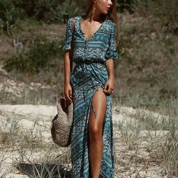 Bohemian Stripe Vintage Print V Neck Drawcord on Waist  Maxi Dress