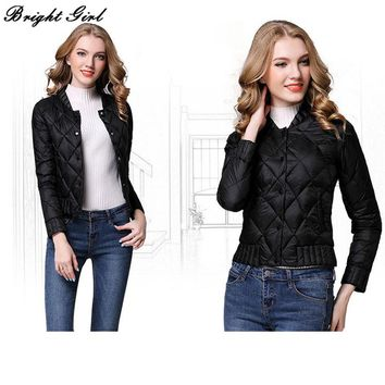 BRIGHT GIRL slim Jacket Women Down Jackets cheap down jacket Warm O-Neck  Winter Coat Puffer Puffer Jacket Women Winterjas