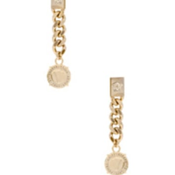 VERSACE Chain Drop Earrings in Light Gold | FWRD