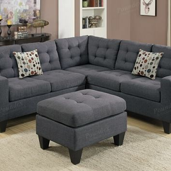 Poundex F6935 4 pc collette blue grey polyfiber faux linen fabric modular sectional sofa