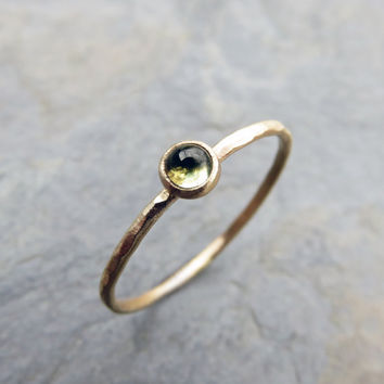 Tiny 14k Gold Peridot Ring - 3mm Round Peridot Stack Ring in Yellow Gold - Mother's Ring - August Birthstone - Hammered, Matte, or Polished