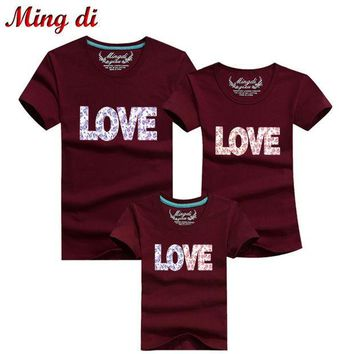 CREYHY3 Ming Di New 2016 Summer Family Look Cotton LOVE T Shirts Summer Family Matching Clothes Father Mother Kids Outfits Cotton Tees