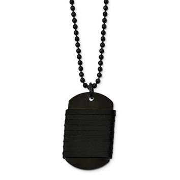 Stainless Steel Brushed Dog Tag Wrapped Leather Necklace 26.5in