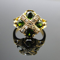 Vintage Demantoid Green Garnet and Rose Cut Diamond Ring, 14k yellow gold, RGDEM101D