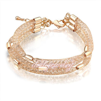 Stardust Deluxe Layered Wire Mesh Bracelet Austrian Crystals Bangle Fashion Jewelry Gift B220