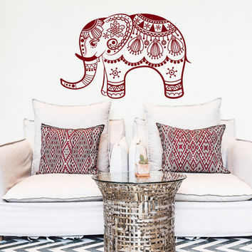 Indian Elephant Vinyl Wall Decal Sticker- Boho Elephant Vinyl Designs- Yoga Wall Decal- Bohemian Elephant Bedroom Yoga Studio Decor #128