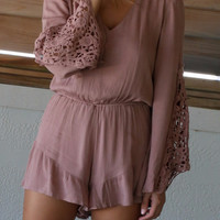 Warm Springs Mocha Long Sleeve Romper