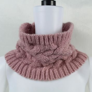 Infinity Cable Woolen Knitted Neck Cowl Collar