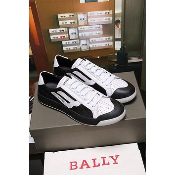 Bally The New Competition Men's Deer Leather Trainer In Black White Sneakers Shoes - Sale