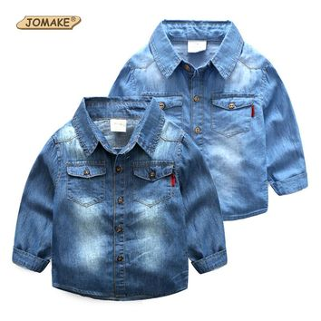 Baby Cotton Jean Shirt New Fashion Brand Children Clothing Casual Kids Clothes Cowboy Blue Denim Shirts For Boys Girls Blouses