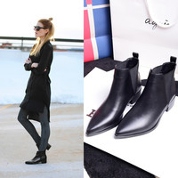 Winter Pointed Toe With Heel Leather Boots [4920469316]