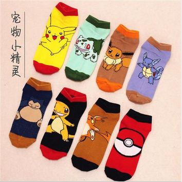 Pokemon Go Ankle Socks Pocket Monster Cosplay Socks Pikachu Charmander Cartoon Pattern Antiskid Casual Socks 11Styles