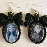 Corpse Bride Inspired Cameo Earrings