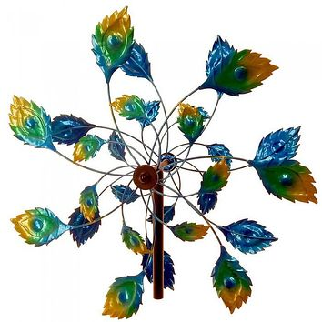 """75"""" Peacock Tail Windmill Garden Stake"""
