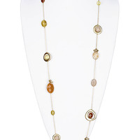 NECKLACE / FLOWER / LINK / BRASS / BURNISH / LUCITE BEAD / GLASS BEAD / 40 INCH LONG / PREMIUM COLLECTION / NICKEL AND LEAD COMPLIANT