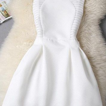 White Plain Lace Sleeveless Slim Midi Dress