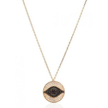 Gold Evil Eye Medallion Necklace